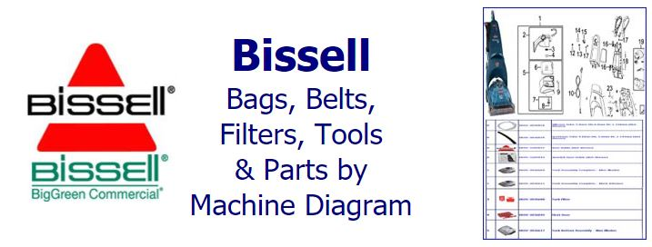 Shop Bissell parts, belts, bags, filters and accessories by machine diagram/schematic!