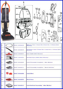 Hoover Parts Parts by Machine Diagram