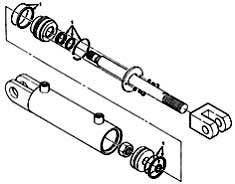 Tennant 355 Electric Sweeper MM306 Hydraulic Cylinder Breakdown, 74419 Parts