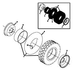 Tennant 355 Sweeper MM300 Rear Wheel Assembly Parts