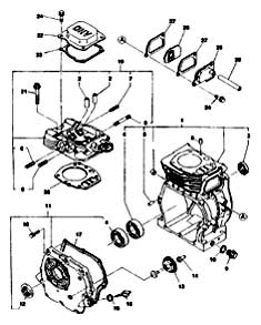 Tennant 3640 Sweeper (Gas) 330580 Crankcase Group PartsTennant 3640 Sweeper (Gas) 330580 Crankcase Group Parts
