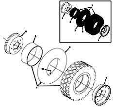 Tennant 385 Sweeper MM304 Rear Wheel Assembly Parts