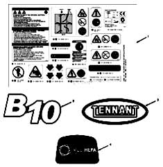 Tennant B10 Rider Burnisher Label Group PartsTennant B10 Rider Burnisher Label Group Parts