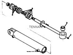 Tennant 1550 Rider Scrubber MM283 Hydraulic Cylinder Breakdown, 04431 Parts