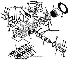 Tennant 1550 Rider Scrubber MM283 Hydraulic Piston Pump Breakdown, 74163 - Part 1 PartsTennant 1550 Rider Scrubber MM283 Hydraulic Piston Pump Breakdown, 74163 - Part 1 Parts