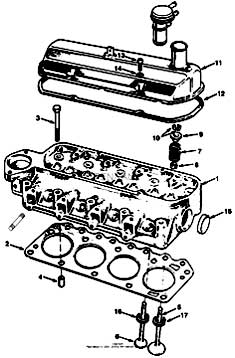 Tennant 385 Sweeper MM304 Cylinder Head, Valve Group Parts