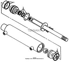 Tennant 385 Sweeper MM304 Hydraulic Cylinder Breakdown, 53601 Parts