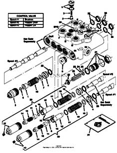 Tennant 385 Sweeper MM304 Hydraulic Valve Breakdown, 48751 Parts