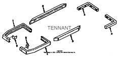 Tennant 550 G/LP and D Rider Scrubber S/N 003370-006114-MM148 Heavy Duty Bumper Kit Parts
