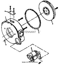 Tennant 550D Rider Scrubber S/N 006115 and Up-330670 Flywheel And Starter Group PartsTennant 550D Rider Scrubber S/N 006115 and Up-330670 Flywheel And Starter Group Parts