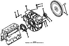 Tennant 550D Rider Scrubber S/N 006115 and Up-330670 Flywheel Housing And Starter Group Parts