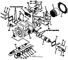 Tennant 550D Rider Scrubber S/N 006115 and Up-330670 Hydraulic Piston Pump Breakdown, 373404 - (Part 1) Parts