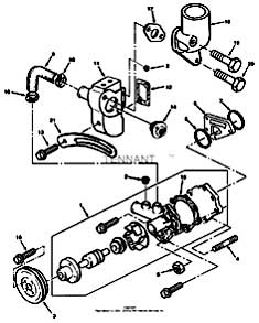 Tennant 550D Rider Scrubber S/N 006115 and Up-330670 Water Pump And Thermostat Group Parts