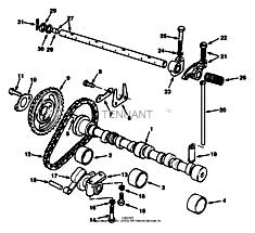 Tennant 7400 (FORD) Rider Scrubber (000000-006999) MM425 Camshaft And Valve Control Group - Engine Breakdown Parts