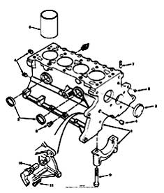 Tennant 7400 (FORD) Rider Scrubber (000000-006999) MM425 Cylinder Block Group - Engine Breakdown Parts