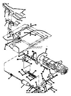 Tennant 7400 (FORD) Rider Scrubber (000000-006999) MM425 Directional Pedal And Linkage Group Parts