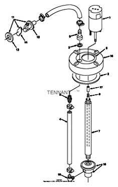 Tennant 7400 (FORD) Rider Scrubber (000000-006999) MM425 Extended Scrub Pump Breakdown, 20914 Parts