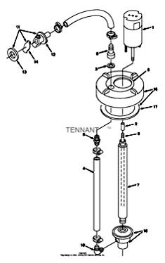 Tennant 7400 (FORD) Rider Scrubber (000000-006999) MM425 Extended Scrub Pump Breakdown, 379005 PartsTennant 7400 (FORD) Rider Scrubber (000000-006999) MM425 Extended Scrub Pump Breakdown, 379005 Parts