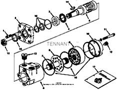 Tennant 7400 (FORD) Rider Scrubber (000000-006999) MM425 Hydraulic Motor Breakdown, 71729 Parts