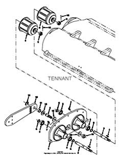 Tennant 7400 (FORD) Rider Scrubber (000000-006999) MM425 Scrub Brush Idler Group Parts