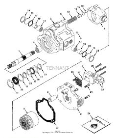 Tennant 8400 Sweeper/Scrubber MM311 Hydraulic Pump Breakdown, 73101 Parts