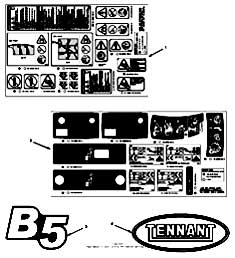 Tennant B5 Walk-Behind Battery Burnisher Label Group Parts