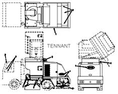 Tennant Centurion Street Sweeper (S/N 000000 - 002000) Label Group Parts