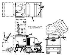 Tennant Centurion Street Sweeper (S/N 002001 & Up) Label Group PartsTennant Centurion Street Sweeper (S/N 002001 & Up) Label Group Parts