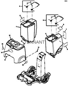 Tennant E5 Portable Carpet Extractor (S/N 30000000-40000000) Tanks And Shroud Group PartsTennant E5 Portable Carpet Extractor (S/N 30000000-40000000) Tanks And Shroud Group Parts