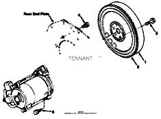 Tennant T20 Diesel Rider Scrubber 331501 Flywheel Group Parts