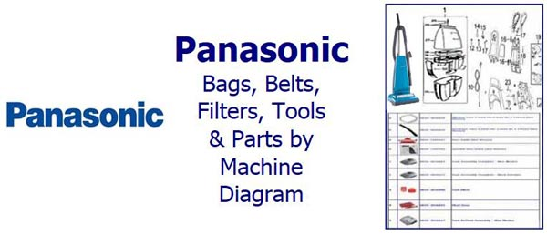 Shop Panasonic parts, belts, bags, filters and accessories by machine diagram/schematic!