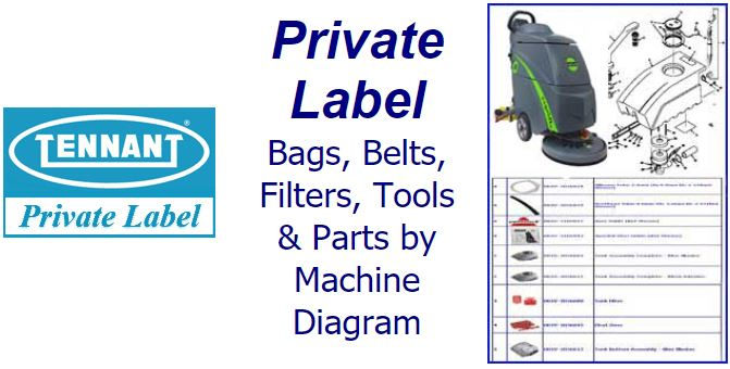 Shop Private Label parts, belts, bags, filters and accessories by machine diagram/schematic!