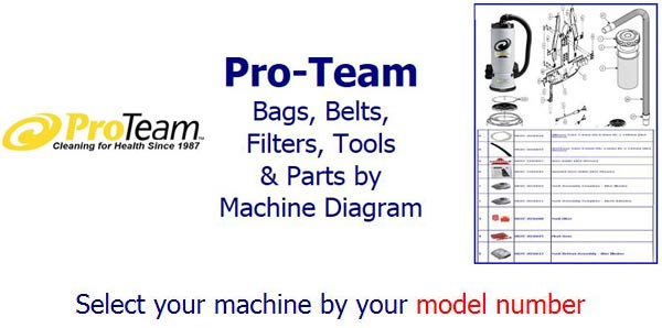 Shop Pro-Team Vacuum parts, belts, bags, filters and accessories by machine diagram/schematic!